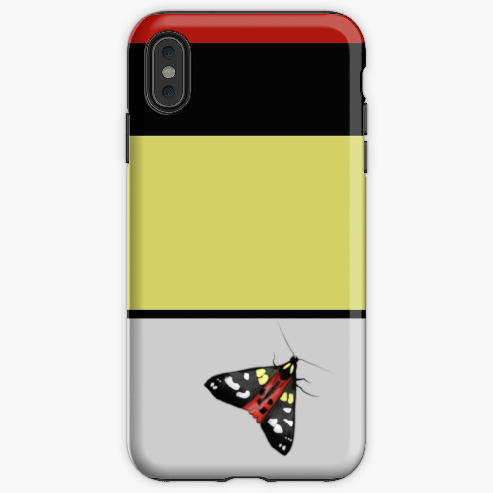 Scarlet Tiger Moth and Stripe iPhone Case & Cover