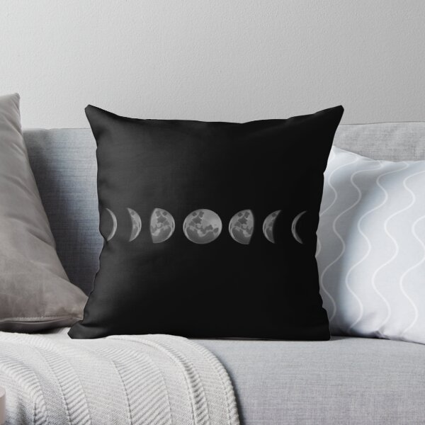 Horizontal Moonphases Throw Pillow