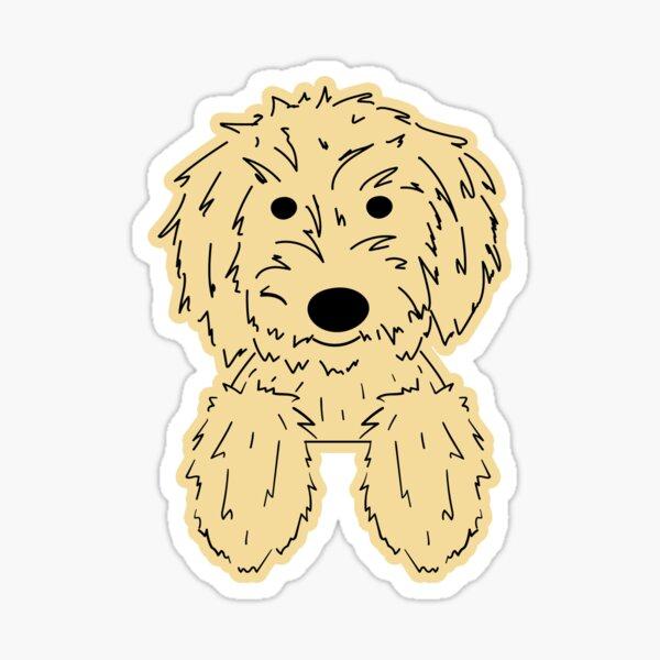 Elle Doodle - Goldendoodle Golden Doodle Dog Chilling Yellow Sticker Sticker