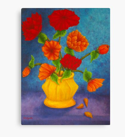 Red & Orange Flowers Canvas Print