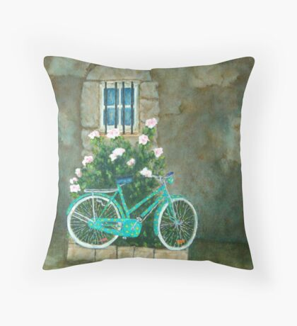 Bicycle 3 Home for Lunch in Rome Throw Pillow
