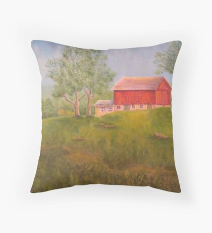 New England Red Barn Throw Pillow