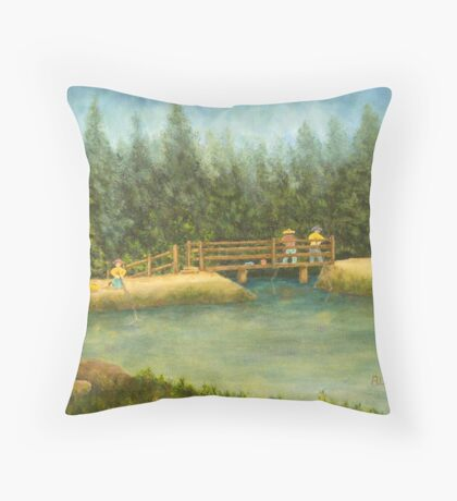 Fishing In New England Throw Pillow