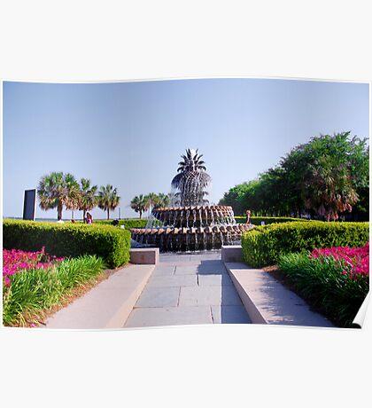 Pineapple Fountain in Charleston Poster