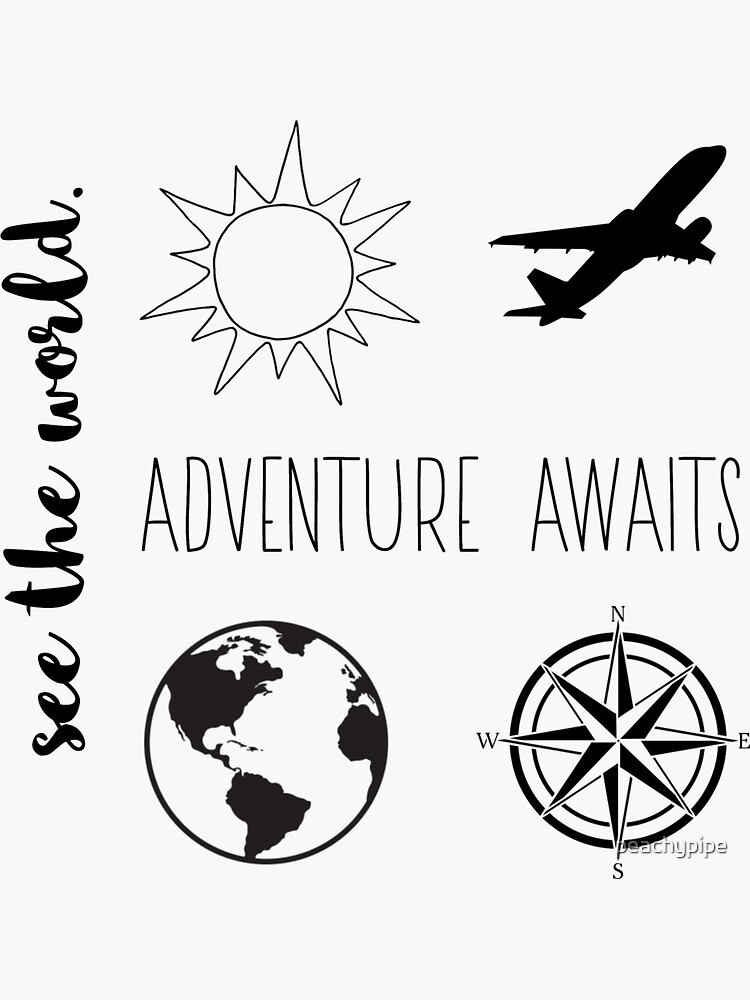 travel sticker pack (b&w) by peachypipe
