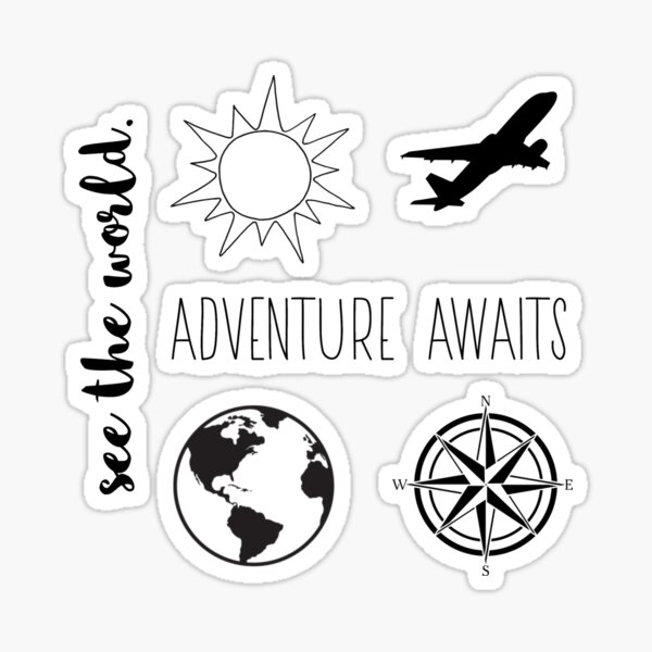travel sticker pack (b&w) Sticker