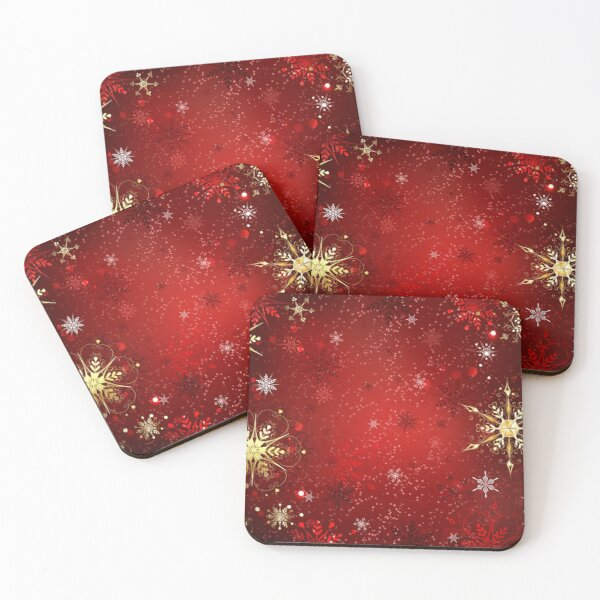 Red Background with Gold Snowflakes Coasters (Set of 4)