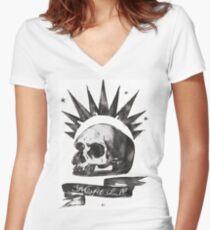 Chloe's Shirt - Misfit Skull Women's Fitted V-Neck T-Shirt