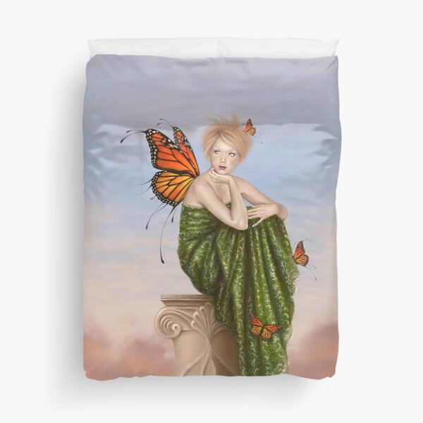 Sunrise Monarch Butterfly Fairy Duvet Cover