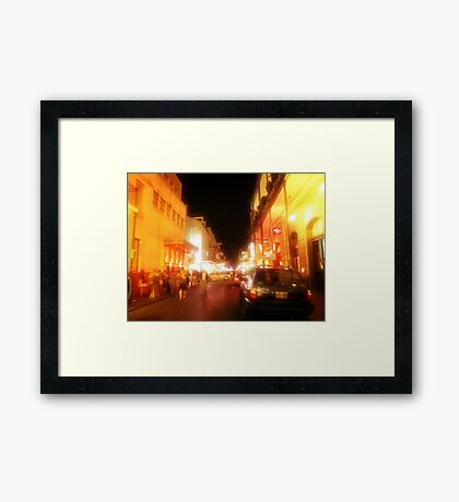 fleeting faces in the night burn themselves into my mind Framed Print
