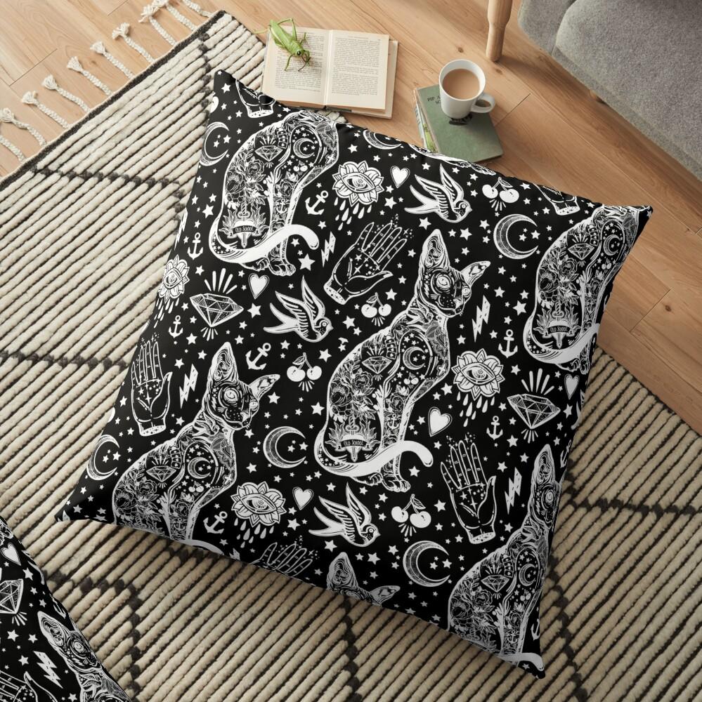 Diseño abstracto de los gatos del espacio. Cojines de suelo