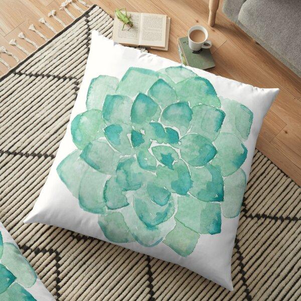 Watercolor Succulent print in seafoam green Floor Pillow