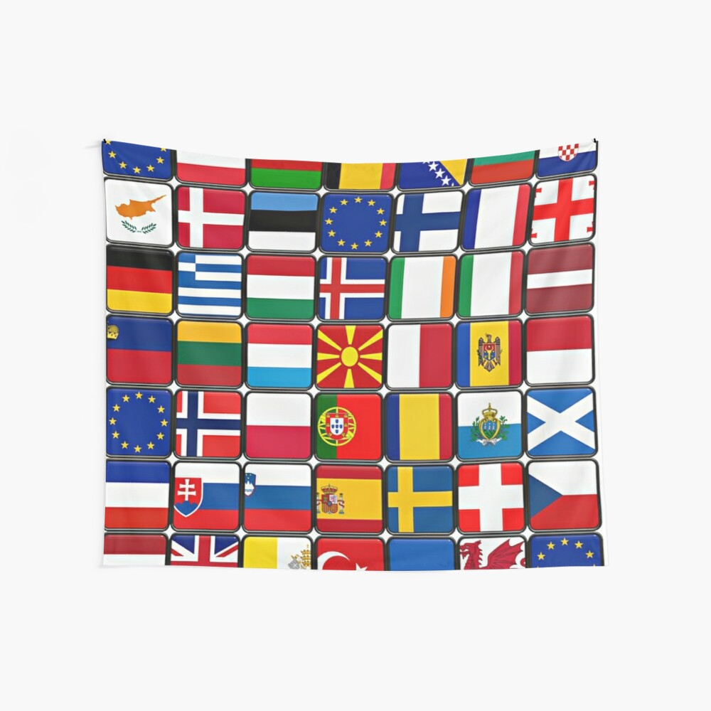 International Flag Collage Wall Tapestry