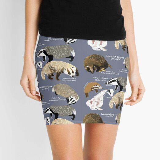 Badgers Meles Genus Poster  Mini Skirt