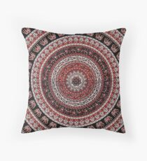 Tapestry Elephant Red Background Throw Pillow