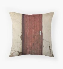 Red wooden door Throw Pillow