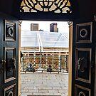 Ornate doors with transom window by Angela Ferguson