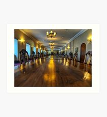 Long wooden conference table Art Print