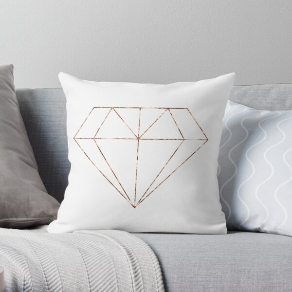 Rose gold diamond Throw Pillow