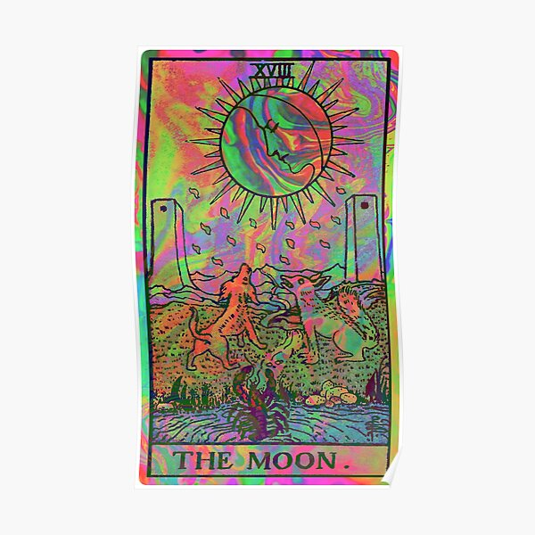 XVIII. The Moon Tarot Card | Psychedelic  Poster