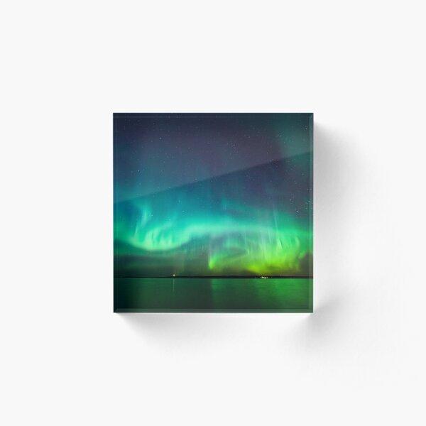 Northern lights glow over lake Acrylic Block