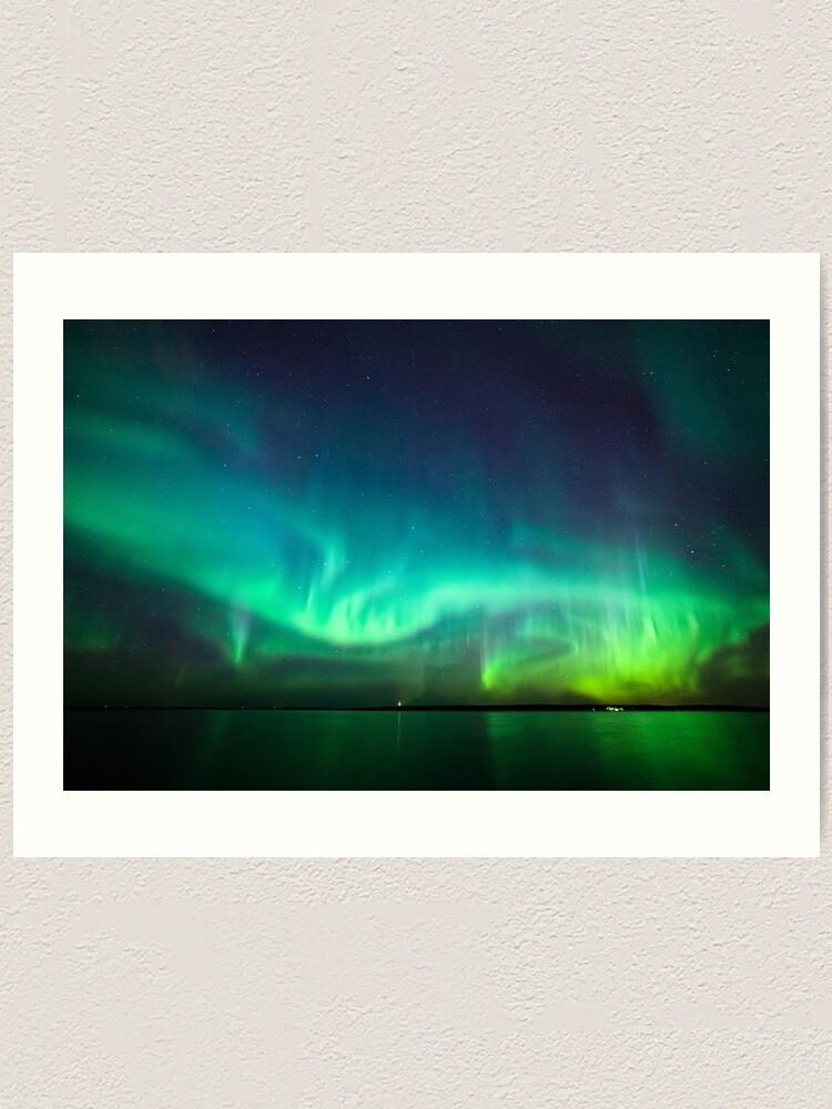 Alternate view of Northern lights glow over lake Art Print