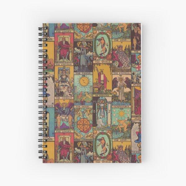 The Major Arcana of Tarot Vintage Patchwork Spiral Notebook