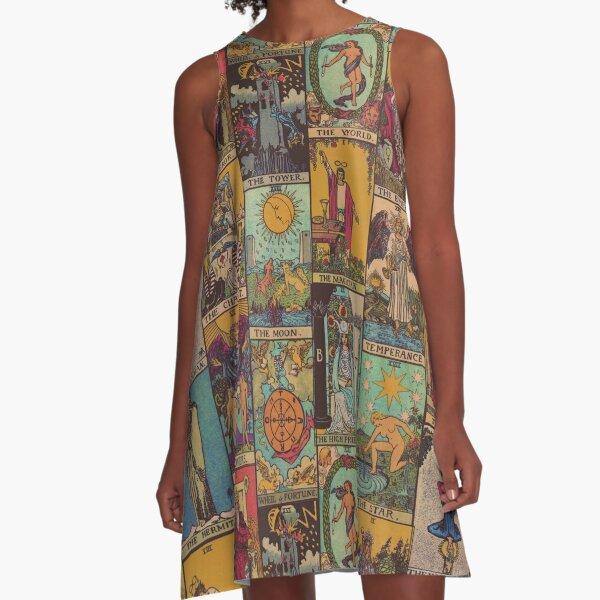 The Major Arcana of Tarot Vintage Patchwork A-Line Dress