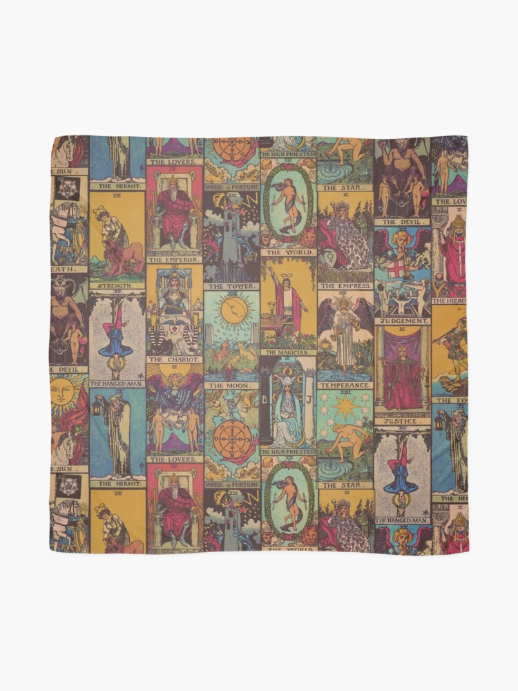 Alternate view of The Major Arcana of Tarot Vintage Patchwork Scarf