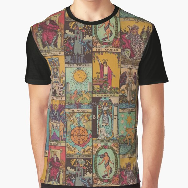 The Major Arcana of Tarot Vintage Patchwork Graphic T-Shirt