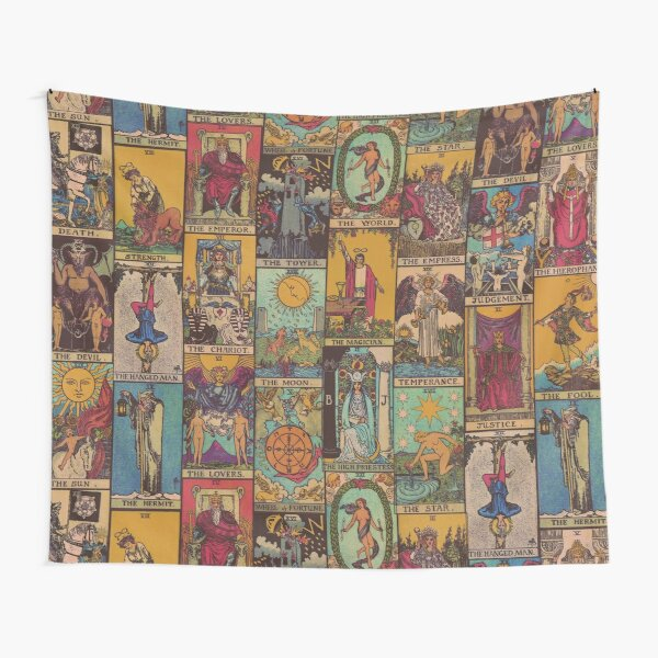 The Major Arcana of Tarot Vintage Patchwork Tapestry