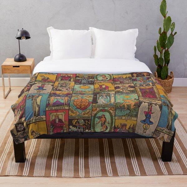The Major Arcana of Tarot Vintage Patchwork Throw Blanket