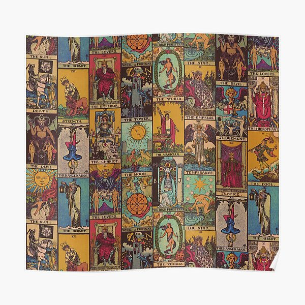 The Major Arcana of Tarot Vintage Patchwork Poster