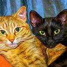 Best Friends - 2 Cats Fine Art Oil Painting by epitomegirl