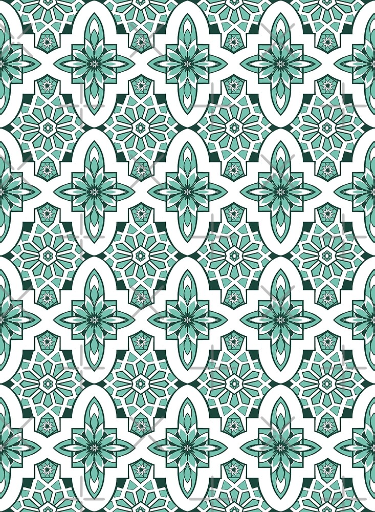 Neo Mint , Mint green Moroccan Tile print art and design by MagentaRose