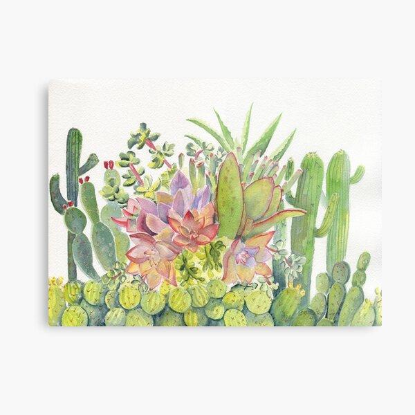 Cactus Garden Watercolor  Metal Print
