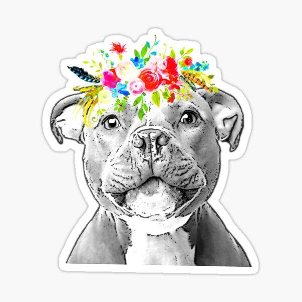 Staffordshire Bull Terrier Floral Crown Sticker