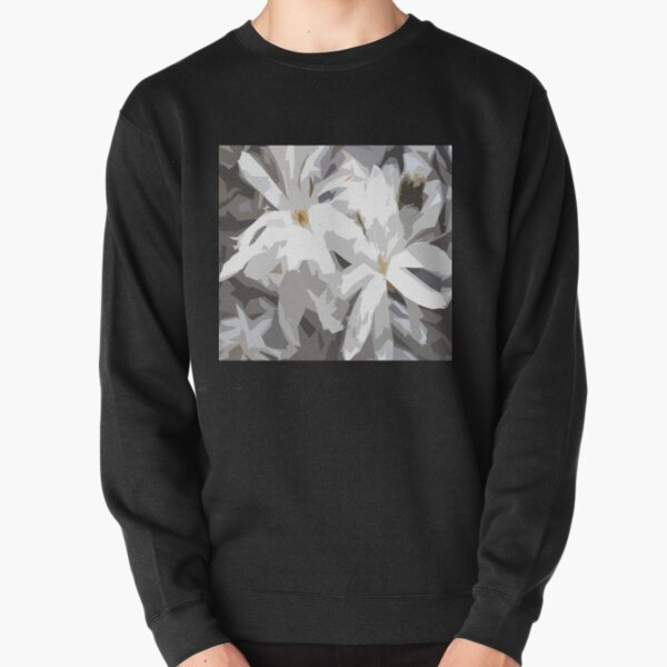 Spring - White Blossoms Deconstructed Pullover Sweatshirt