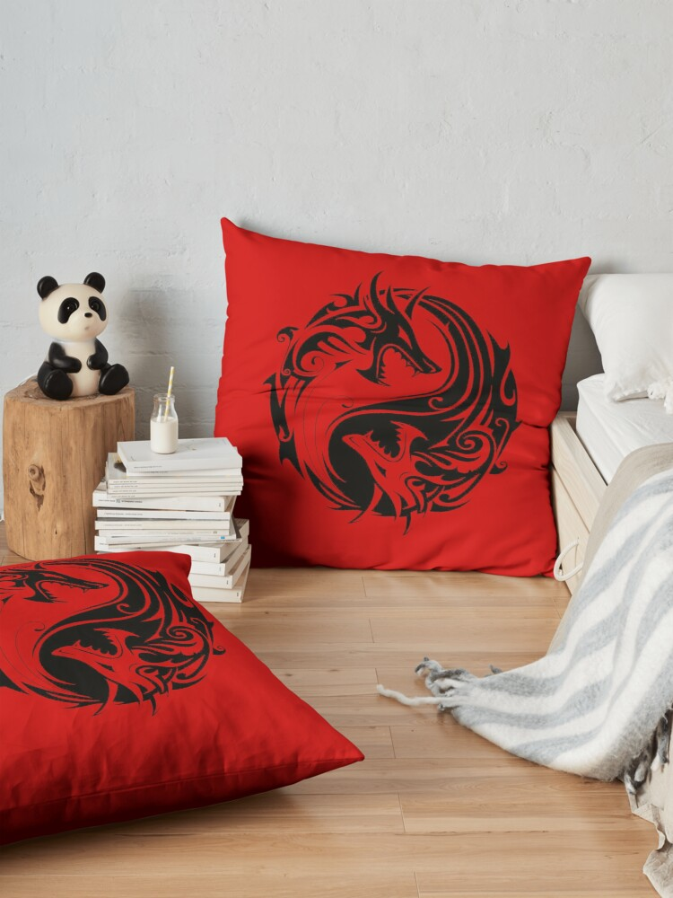 Alternate view of Yin yang dungeons and dragons fan art gift idea shirt for all ages FTW Floor Pillow