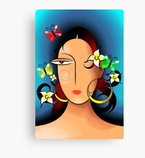 Elegant woman face groomed by flowers Canvas Print