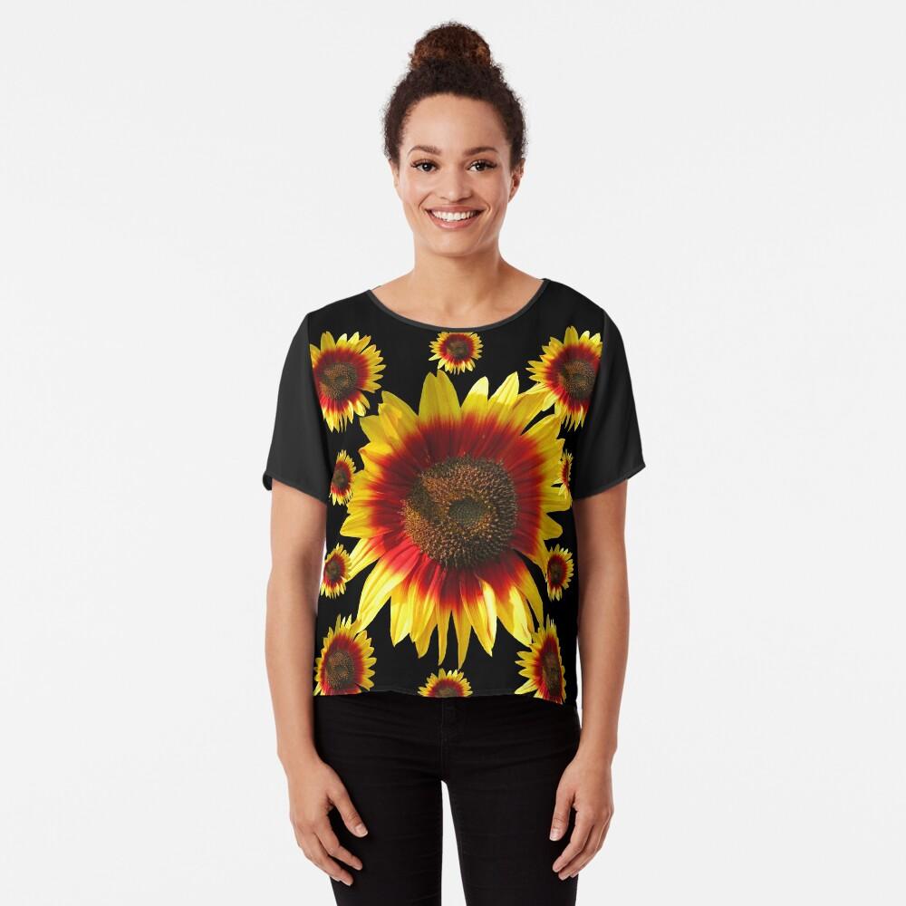 bunte, blühende Sonnenblumen, Sonnenblume, Blumen Chiffon Top