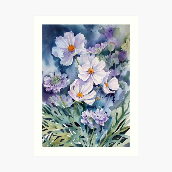 Cosmos and Scabious Art Print