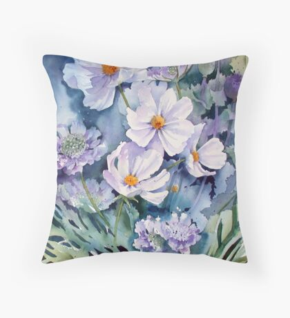 Cosmos and Scabious Throw Pillow