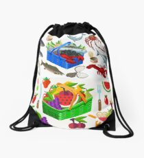 Food Set Fish, Vegetables and Fruit Drawstring Bag