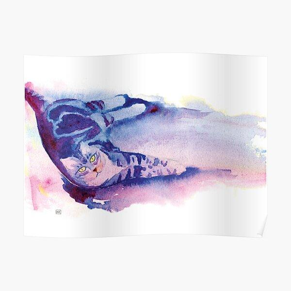 Lounging Kitteh in Watercolor Poster