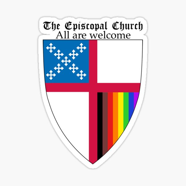 Episcopal Church Shield with 8 Colours Rainbow Pride 2 Sticker