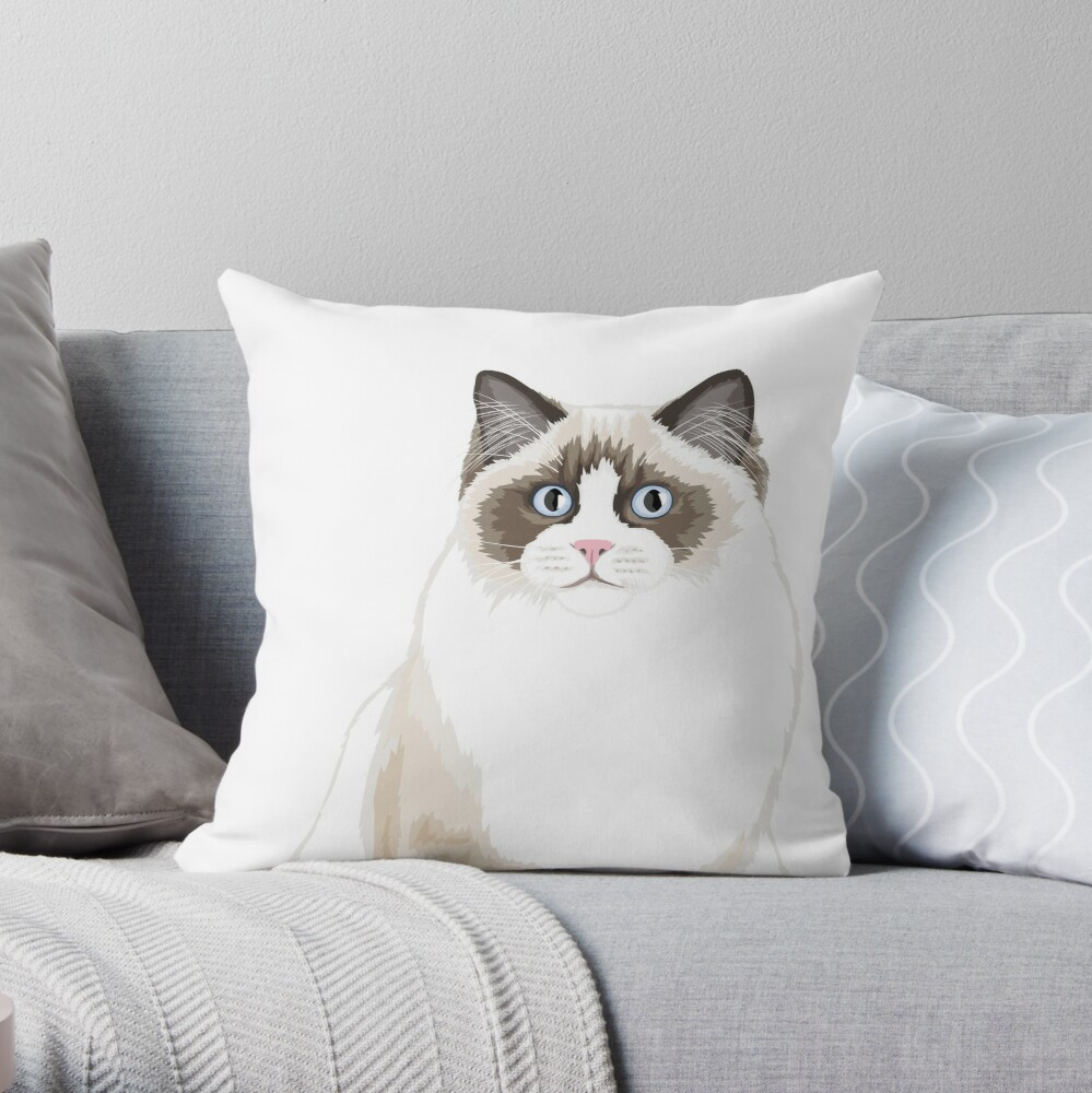 Seal Bicolor Ragdoll Throw Pillow