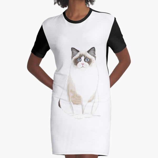 Seal Bicolor Ragdoll Graphic T-Shirt Dress