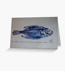 The 'Soul' of Newlyn - Cornish Megrim Sole - Newlyn Fish Art (Gyotaku) Greeting Card