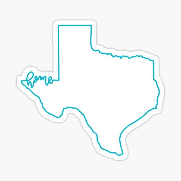 Aqua Texas Outline Home Sticker Sticker